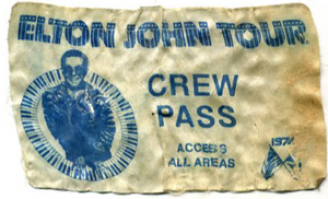 ELTON JOHN 1974 NORTH AMERICAN TOUR BACKSTAGE PASS