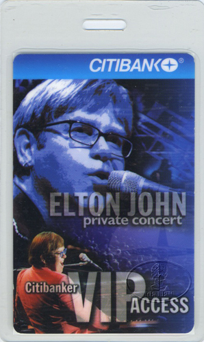 ELTON JOHN 1998 Citibank Concert LAMINATED BACKSTAGE PASS Avery Fisher Hall