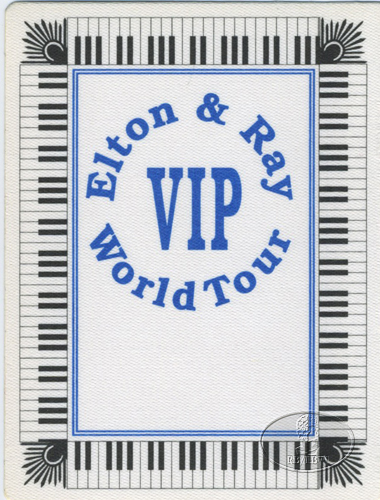 ELTON JOHN & RAY COOPER 1993 BACKSTAGE PASS blue