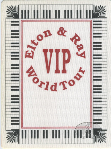 ELTON JOHN & RAY COOPER 1993 BACKSTAGE PASS red