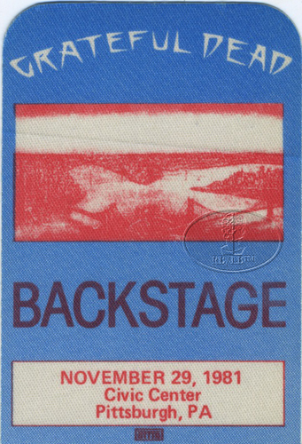 GRATEFUL DEAD 11/29/81 BACKSTAGE PASS Civic Center Pittsburgh