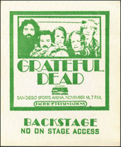 GRATEFUL DEAD 1973 TOUR BACKSTAGE PASS SAN DIEGO