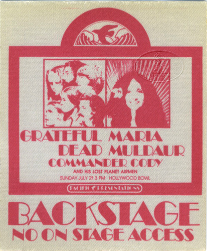 GRATEFUL DEAD 1974 HOLLYWOOD BOWL BACKSTAGE PASS