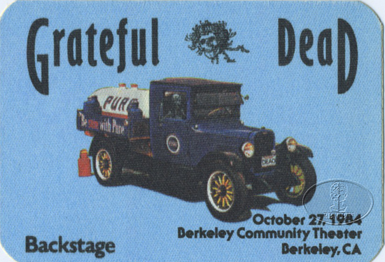 GRATEFUL DEAD 10/27/84 BACKSTAGE PASS Berkeley Community Theater