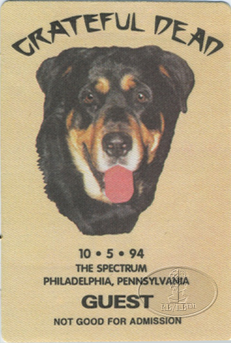 GRATEFUL DEAD 10/5/94 BACKSTAGE PASS Philadelphia Spectrum