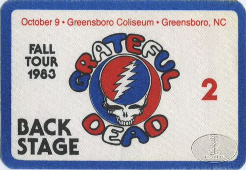 GRATEFUL DEAD 10/9/83 BACKSTAGE PASS Greensboro