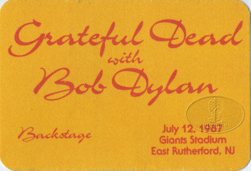 GRATEFUL DEAD & BOB DYLAN 7/12/87 BACKSTAGE PASS Giants Stadium