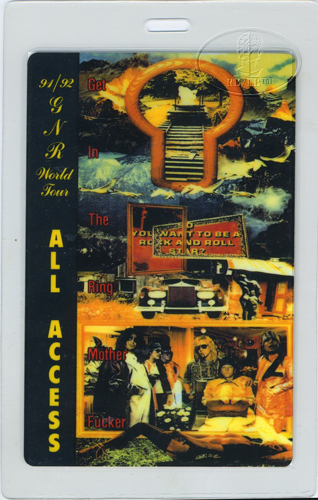 Guns n' Roses 1991-92 Laminated Backstage Pass Aa