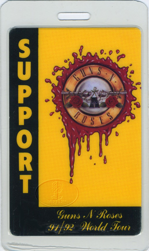 GUNS N' ROSES 1991-92 LAMINATED BACKSTAGE PASS Support
