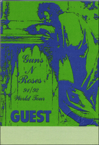 GUNS N' ROSES 1991-92 Backstage Pass GUEST green