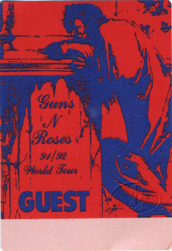 Guns n' Roses 1991-92 Backstage Pass Guest Red