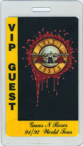 Guns n' Roses 1991-92 VIP Laminated Backstage Pass