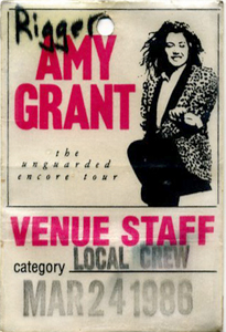 AMY GRANT 1985-86 unguarded encore Backstage Pass STAFF