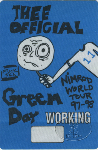 GREEN DAY 1997-98 NIMROD TOUR BACKSTAGE PASS CREW blue