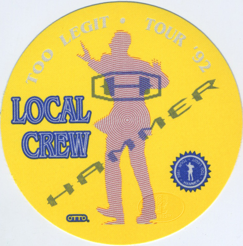 M.C. HAMMER 1992 TOO LEGIT TOUR CREW BACKSTAGE PASS Yellow