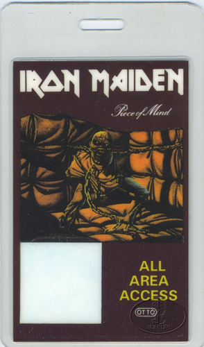 Iron Maiden 1983 Piece Of Mind Laminated Backstage Pass