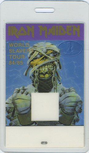 IRON MAIDEN 1984/85 Slavery Tour Laminated Backstage Pass Eddie