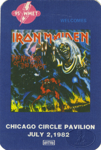 IRON MAIDEN 1982 BEAST TOUR RADIO PROMO BACKSTAGE PASS