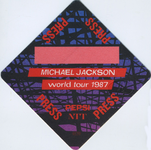 MICHAEL JACKSON 1987 BAD TOUR Backstage Pass PRESS red