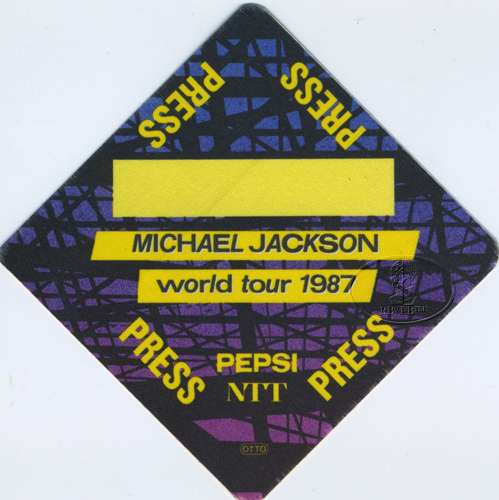 MICHAEL JACKSON 1987 BAD TOUR Backstage Pass PRESS ylw