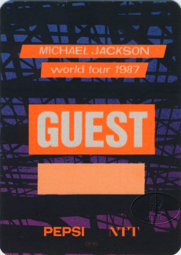 MICHAEL JACKSON 1987 BAD TOUR Backstage Pass Guest