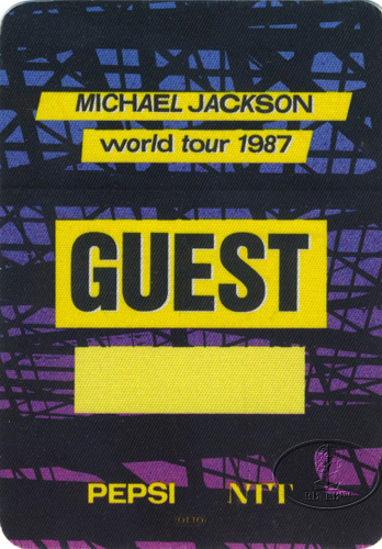 MICHAEL JACKSON 1987 BAD TOUR Backstage Pass Guest ylw