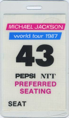 MICHAEL JACKSON 1987 LAMINATED BACKSTAGE PASS