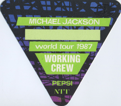 MICHAEL JACKSON 1987 BAD TOUR Backstage Pass Crew green