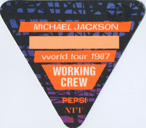MICHAEL JACKSON 1987 BAD TOUR Backstage Pass Crew