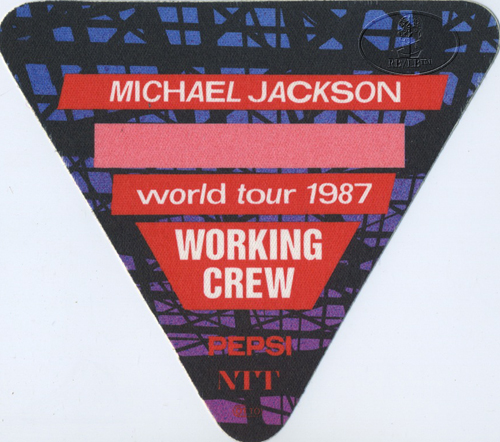 MICHAEL JACKSON 1987 BAD TOUR Backstage Pass Crew red