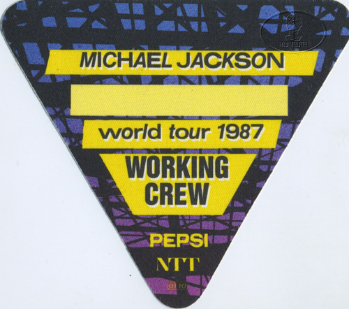 MICHAEL JACKSON 1987 BAD TOUR Backstage Pass CREW ylw