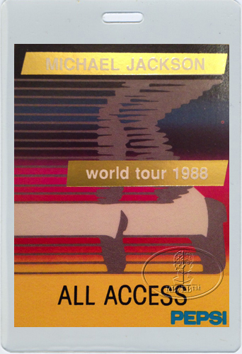 MICHAEL JACKSON 1988 AA LAMINATED BACKSTAGE PASS Gold