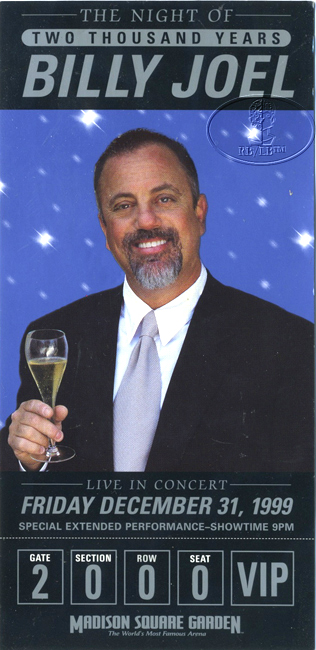 BILLY JOEL 2000 MILLENIUM CONCERT VIP FLYER Madison Square Garden