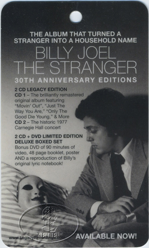 BILLY JOEL 30th ANNIVERSARY STRANGER PROMO LAMINATED TAG