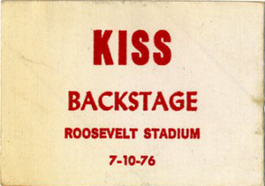 KISS 1976 DESTROYER TOUR BACKSTAGE PASS ROOSEVELT