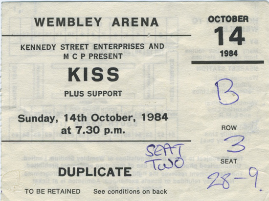 KISS & BON JOVI 1984 ANIMALIZE Tour Concert Ticket Stub Wembley Arena