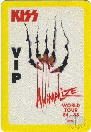 KISS 1984/85 ANIMALIZE VIP Backstage Pass