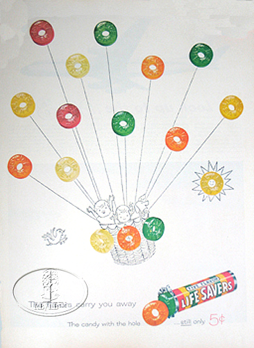 "LIFE SAVER ADVERTISEMENT ""AIR BALLOON"" CANDY"