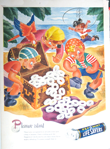"LIFE SAVER ADVERTISEMENT ""PLEASURE ISLAND"" CANDY"