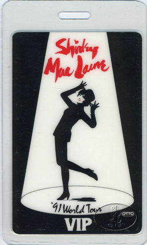 SHIRLEY MacLAINE 1991 TOUR LAMINATED BACKSTAGE PASS