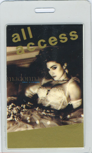 MADONNA 1985 LAMINATED BACKSTAGE PASS GOLD