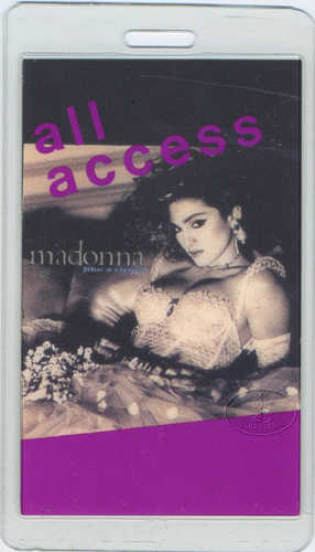 MADONNA 1985 LAMINATED BACKSTAGE PASS Purple
