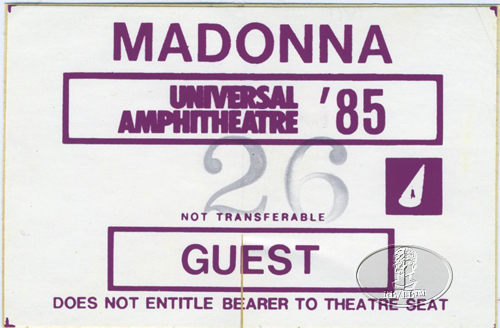 MADONNA 1985 VIRGIN TOUR BACKSTAGE PASS extremely rare 1st performance