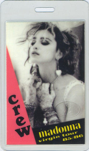 MADONNA 1985 VIRGIN TOUR LAMINATED BACKSTAGE PASS