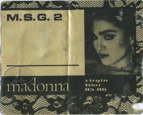 EXTREMELY RARE MADONNA 1985/86 VIRGIN TOUR BACKSTAGE PASS MADISON SQUARE GARDEN