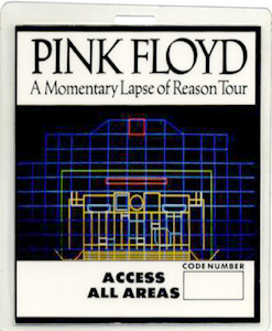 PINK FLOYD 1987 LAPSE TOUR LAMINATED BACKSTAGE PASS