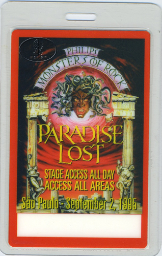 Alice Cooper MONSTERS OF ROCK 1995 LAMINATED BACKSTAGE PASS SAO PAOLO