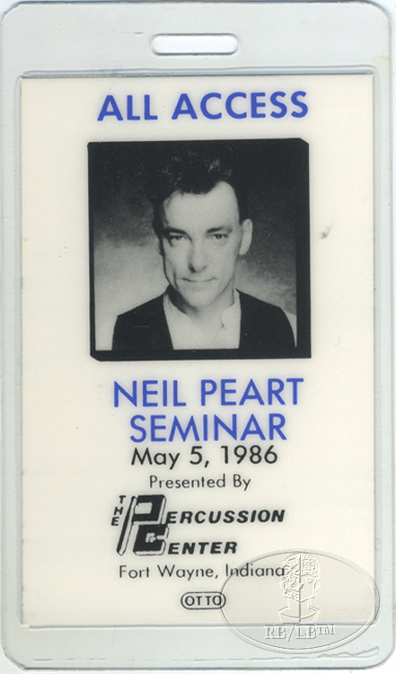 NEIL PEART 1986 LAMINATED BACKSTAGE PASS RUSH