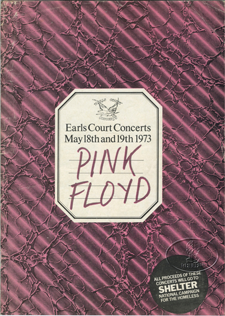 PINK FLOYD 1973 Concert Program Programme Book FACES ELTON JOHN