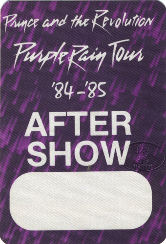PRINCE 1984 PURPLE RAIN BACKSTAGE PASS ASO purple